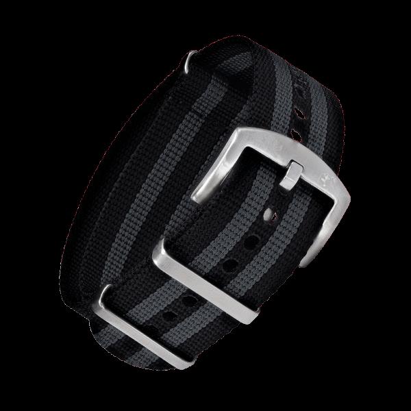 NATO Armband Schwarz Grau mit silberner Dornenschließe | 24mm