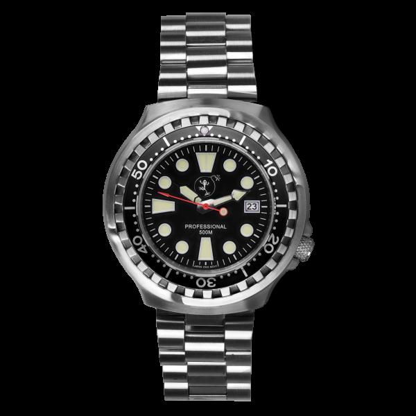 BOMBFROG Herren Taucheruhr Professional 500 mit Edelstahl-Uhrenarmband Front