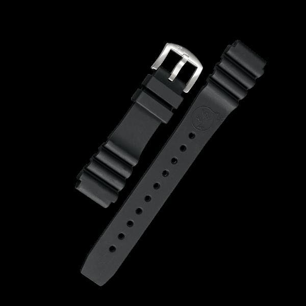 BOMBFROG Silikon Uhrenarmband schwarz 22 mm Taucher Edelstahl Schließe