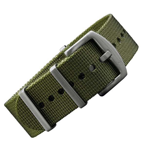 NATO Strap olive with silver buckle | 22mm
