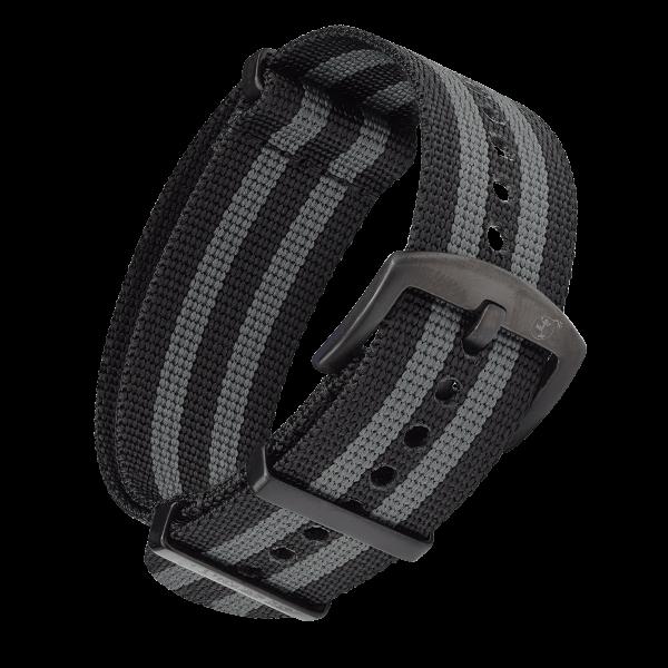 NATO Armband Schwarz Grau mit schwarzer Dornenschließe | 22mm