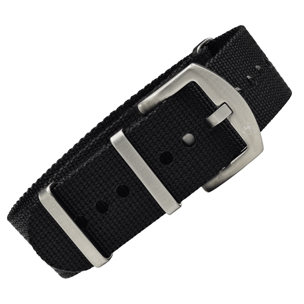 NATO Strap black with silver buckle | 22mm