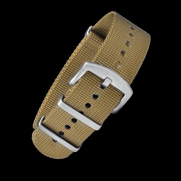 BOMBFROG NATO Armband Khaki mit silberner Dornenschließe | 24mm 01